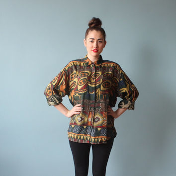 oversized tribal top / 1990s tribal button up shirt / small - large