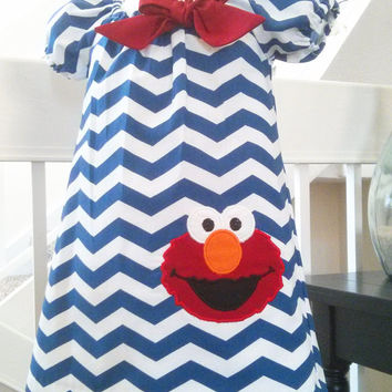 Sesame Street Elmo Dress - Elmo Birthday Dress - Navy Blue Chevron Dress - Boutique Style Dress - Elmo Outfit - Elmo toddler Dress - 12M-5T