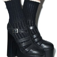 Peony & Moss Lavish Lace Crew Socks Black One