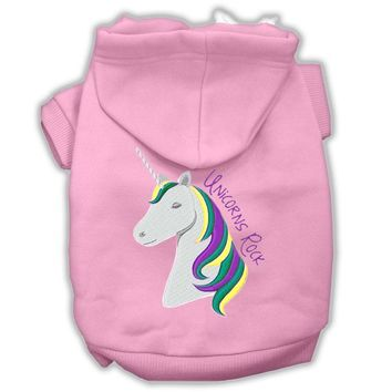 Unicorns Rock Embroidered Dog Hoodie Light Pink Xl (16)