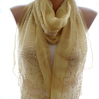 Lace scarf, yellow lace scarf,scarves for women, soft scarf, cozy scarf, trendy scarf