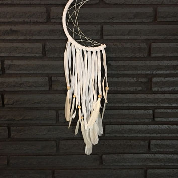 Crescent Moon Dream Catcher in White, Wall Hanging, Home decor, Modern Decor