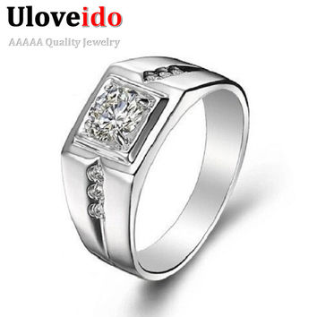 Sterling Silver CZ Diamond Ring for Men Vintage Crystal Anel Masculino Engagement Wedding Rings