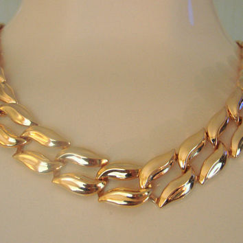 Napier Modernist Gold Tone Necklace * Designer Signed * Vintage Jewelry