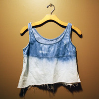 Bleached Ombre Denim Crop Top ONE OF A KIND