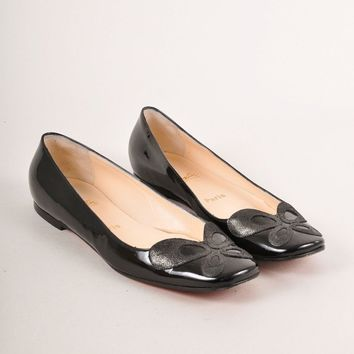 CREYU2C Black Patent Leather Square Toe Flats