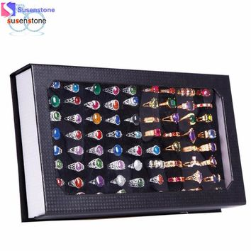 SUSENSTONE High-grade 72 Slot Ring Box Velvet Jewelry Ring Display Case Box Jewelry Storage