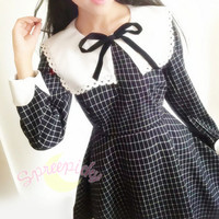 Sailor School Uniform Vintage Grids Dress SP141341