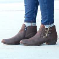 Tikki Multi Buckle Ankle Booties {Dk. Brown}