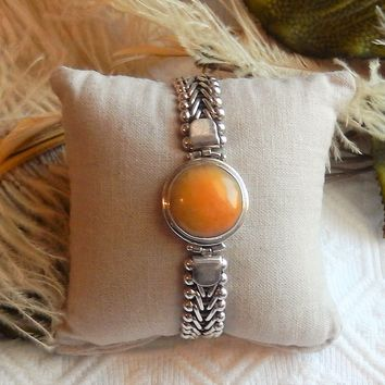 Ancient Echos Artisan Sterling Silver Cancrinite Adjustable Toggle Bracelet
