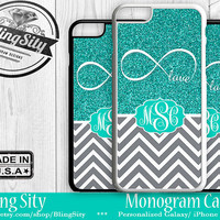 Monogram iPhone 5C 6 Plus Case iPhone 4S 5S Case Ipod 4 5 6 Mint Infinity Gray Chevron Personalized Cell Phone Case Zig Zag