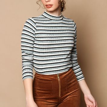 Jora Striped Turtleneck Top - Mint