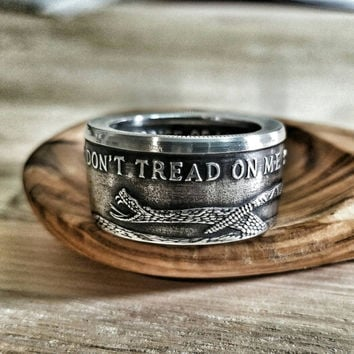 Silver Don't Tread on Me / Gadsden Flag Ring - Hand Forged .999 Pure Silver Coin Ring