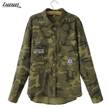 1PC Denim Jacket Women Denim Shirt Military Camouflage Blouse Coat Casual Fashion Jaqueta Feminina Chaquetas Mujer Z233