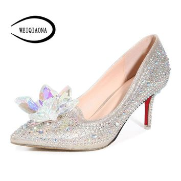 Cinderella glass slipper pointed heels, Red bottom Women Pumps, Pointed Toe High Heels