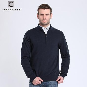 Men Sweaters Solid Pull Home Pullovers Cotton Knitted Sweater Zipper Turtleneck Clothing