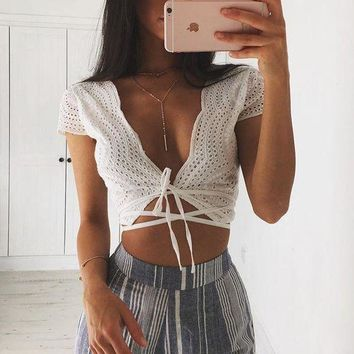 DCCKH3L Women Fashion Simple Solid Color Deep V-Neck Low Chest Short Sleeve Bandage Crop Tops