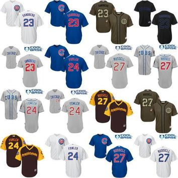 2016 World Series Champions patch Youth Chicago Cubs 23 Ryne Sandberg 24 Dexter Fowler 27 Addison Russell kids Baseball Jersey stitched