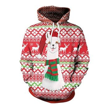 Alpaca Digital Print Women Drawstring Christmas Party Hoodie