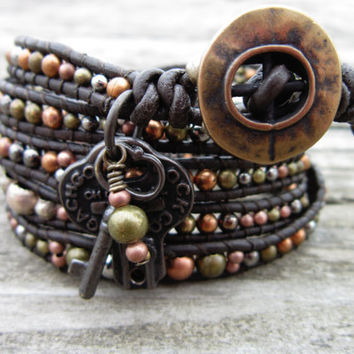 Steampunk Leather Wrap Bracelet by NoliePolieOlies on Etsy