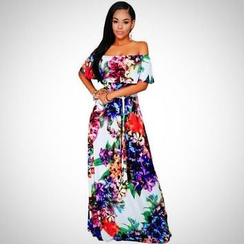 African Floral Print Long Dress