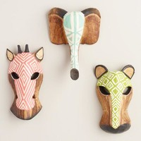 Carved Wood Animal Masks Set of 3