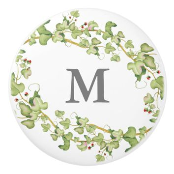 Personalized Monogram | Green Ivy Foliage Ceramic Knob