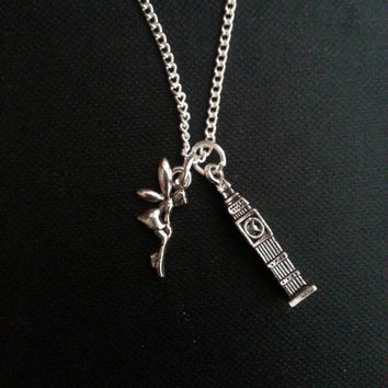 Peter Pan Inspired Big Ben and Tinkerbell Design Charm Necklace