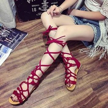 2017 New summer girls cross strap sandals high gladiator sandals tall sandals for women boot sandals shoes 3 colors