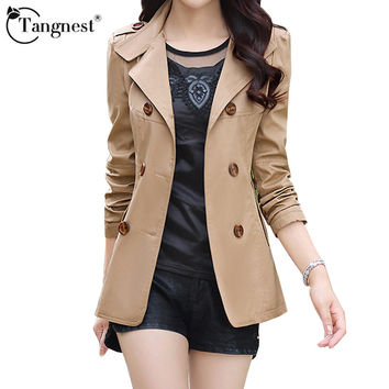 TANGNEST Women Spring Autumn Jacket Fashion Double-breasted Slim Five Solid Colors Plus Size Young Ladies Slim Jacket WWF845