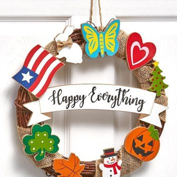 Seasonal Wreath Seasons & Holidays All in One Happy Everything Unique Humorous