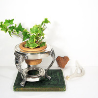 Vintage Silver Plant Stand Pedestal Display Italy Clay Pot