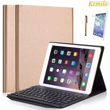 Kemile Environmental PU Case Cover for iPad Pro 9.7 Wireless Bluetooth Luxury Aluminum Alloy Keyboard for iPad air/air2&For ipad