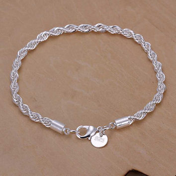 New Silver plated Jewelry for women and men fashion Silver plated Chain Charm Flash twisted rope Bracelet Jewelry Bracelet H207