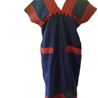 "Sack dress front pocket pom pom size M/L bust 40"" V neck Hill tribe women dress  Tribal shirt Blouse Navy blue red native tunic"