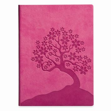 Cherry Blossoms Faux Leather Essentials Journal - Embossing Gift Item
