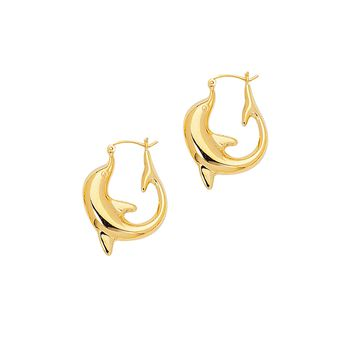 14K Yellow Gold Shiny Large Dolphin Symbolic Hoop Earring with Hinged Clasp