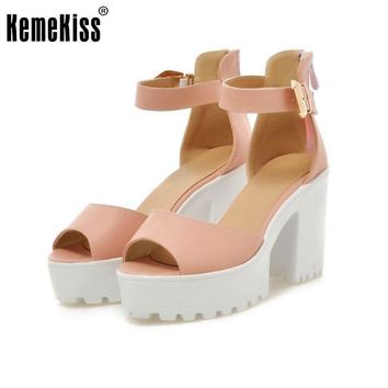 New Arrival Summer Shoes Wrap Open Toe Fashion Women Ankle Strap Sandals Thick Heel Pl