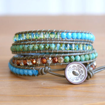 Bohemian beaded leather wrap bracelet, Blue Green Turquoise Bronze Amber, Cool Mint, Khaki, trendy, cuff, gift idea, hipster by OlenaDesigns