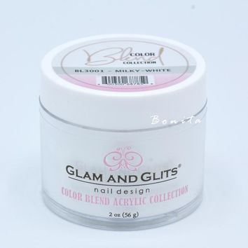 Glam And Glits Acrylic Powder Color Blend Collection BL3001 Milk White 2 oz