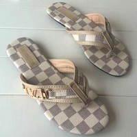LOUIS VUITTON Women Casual Fashion Diamonds Flat Sandal Slipper Shoes