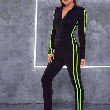 Neon Lime Side Striped Zip Up Fitted Jumpsuit