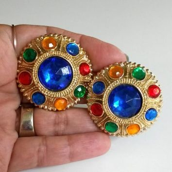 1980s Jeweled Multi Color Acrylic Rhinestone Gold Tone Button Earrings Plastic