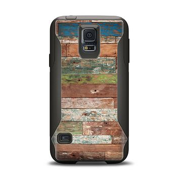 The Vintage Wood Planks Samsung Galaxy S5 Otterbox Commuter Case Skin Set