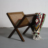 Stunning 1970's Wicker on Walnut Magazine Rack