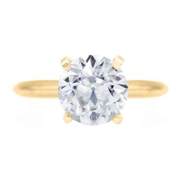 Old European Cut (OEC) Round Moissanite 14K or 18K Yellow Gold 4 Prongs Solitaire Ring