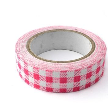 Hot pink plaid 15mm washi tape / 10M