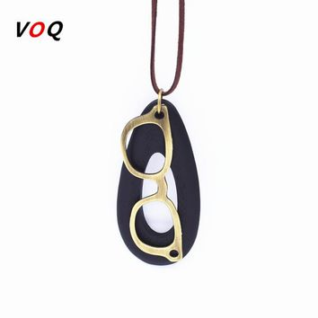 New Fashion Glasses frame Necklace Oval Wood Pendant for Women Personality Leather Choker Jewelry Free Shipping