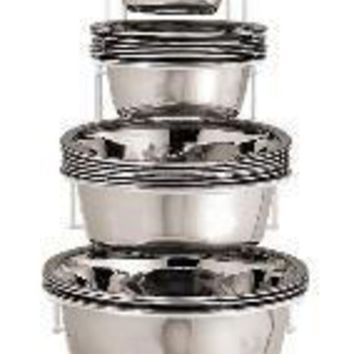 ICIKU7Q Ethical 24Pc Stainless Steel Mirror Dish W-Rack