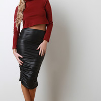 Ruched Vegan Leather Pencil Skirt